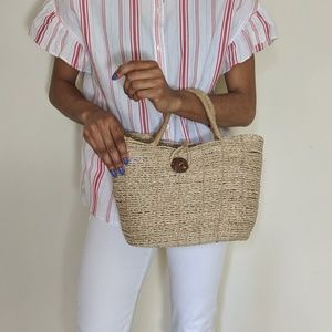 Handbags - Straw Bucket Tote Bag